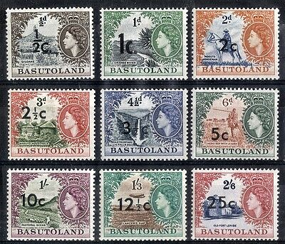 Basutoland.  1961.  New Currency Surcharges.  SG58-66.    Mint.