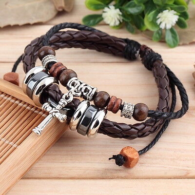 New Fashion Vintage Men Women Wrap Multilayer Bracelet Braided Rope Jewelry CZ