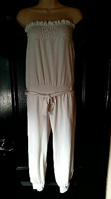 Cream Boob Tube Long Playsuit Jumpsuit Holidays Beach Cover Up 10 12