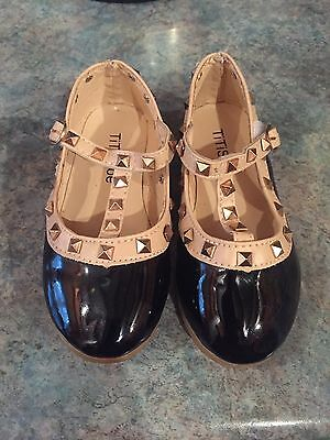 Girls Black Studded Patent Shoes