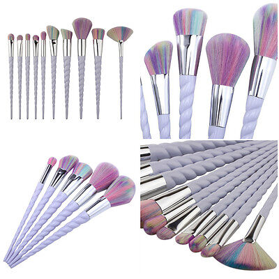 Set 10 pennelli trucco make up unicorno brush cosmetic fondotinta occhi blush
