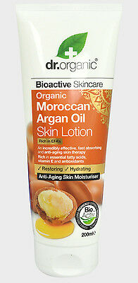 Dr Organic Moroccan Argan Oil Skin Lotion Anti-Aging Moisturiser 200Ml 7 Fl Oz