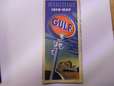 ancienne carte routiere usa pennsylvania GULF road map 1940