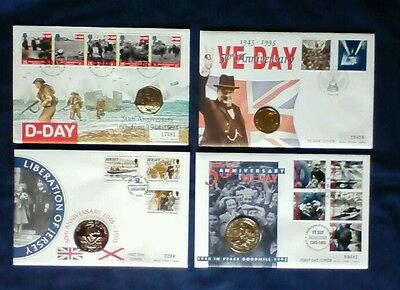 GB FDC D Day Anniversary coin covers x 9 inc signed
