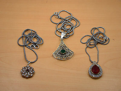 Silver & Brass Wholesale 3Pc Faceted Ruby,emerald & Mix Stone Chain-Pendant Lot