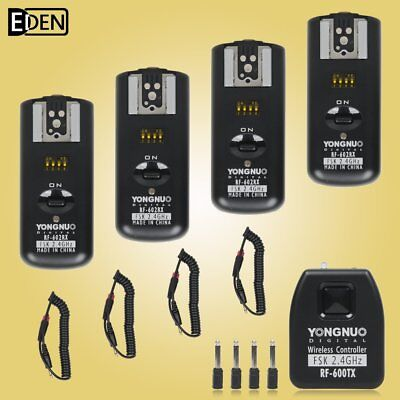 Yongnuo RF602 RF-602 2.4GHz Wireless Remote Flash Trigger 4 Receivers for Canon
