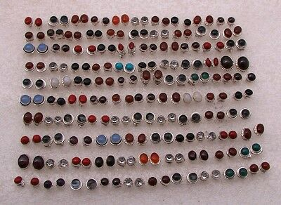 925 Silver Plated Wholesale 100 Pair Coral & Mix Stone Studd Earring Jewelry Lot