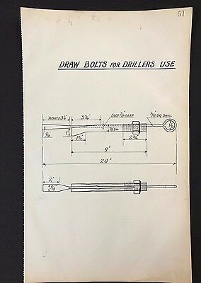 Harland & Wolff, Belfast 1930's Shipyard Drawing DRAW BOLTS FOR DRILLERS  (P51)