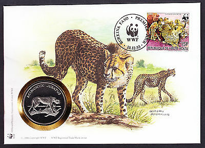 World Wide Fund Cheetah Cat Cover & coin medal Numisbrief WWF 1993 Upper Volta