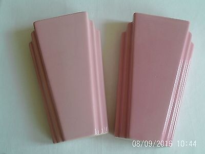 """Two 8"""" Tall Pink Wall Vases (Deco Style) By Kingston Pottery Of Hull"""