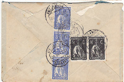 Portugal letter to Covilha 1922- 3X3C and 2X1/2C ceres stamps.