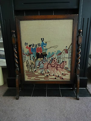 Antique Wooden Fire Screen- Oak- Barley Twist- Embroidered Panel Coach & Horses