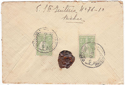 Portugal letter to Lisboa- 2X3 1/2C ceres stamps. Cliches. Nice sealed.