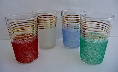 Set Of Four Gilded Sugar Frosted Multi Coloured Cocktail Glasses - Fab Condition
