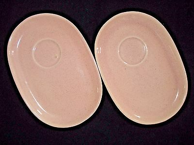 Vintage BAUER BRUSCHÉ Luncheon PLATES/Cup/Soup Pink Speckled Mid Century Modern