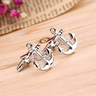 Novelty Anchor Vintage Cufflinks Shirt Cuff Links Wedding Party Mens Gift CZ