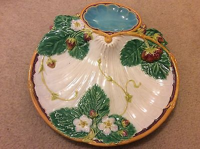 Minton Majolica Strawberry Dish 1867 fully marked & signed Vintage condition