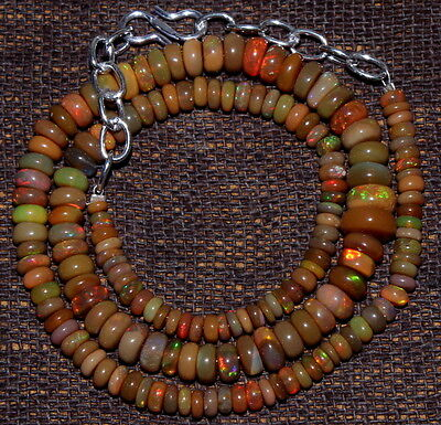 Natural Ethiopian Opal Roundel 2to9 mm Beads AAA Opal Stone Necklace 16 ''1267