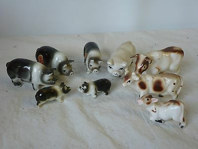 Job lot 6x small china pigsand piglets,  3x cows and calf, unbranded, ornaments