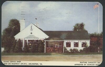 Evans Coffee Shop Arlington Virginia Restaurant Postcard
