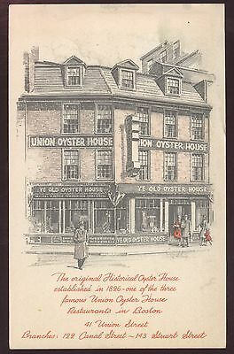 Oyster House Union Restaurant Seafood Boston Bar Massachusetts Postcard