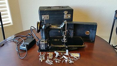 1939 Singer Featherweight Sewing Machine with Case Attachments WORKS !!
