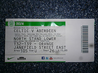 CELTIC v ABERDEEN – 8/2/14 – SCOTTISH CUP – USED TICKET
