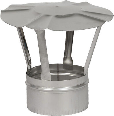 "Stainless Steel Chimney Cowl Pipe Rain Cover Protector Cap Pot 4"" 5"" 6"" 7"" 8"""