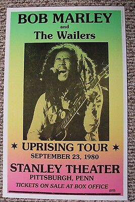 Vintage BOB MARLEY & THE WAILERS Concert Poster UPRISING TOUR Pittsburgh 1890
