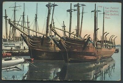 Whalers Wooden Ships New Bedford Massachusetts Whales Postcard