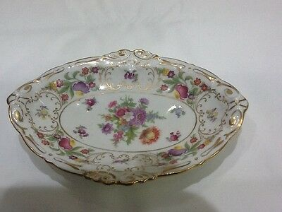 Vintage Dresden sprays bone china dish oval hand painted