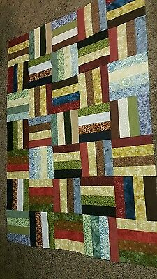 HANDMADE SCRAPPY QUILT TOP APPROX 55 X 40 INCHES  (unfinished)