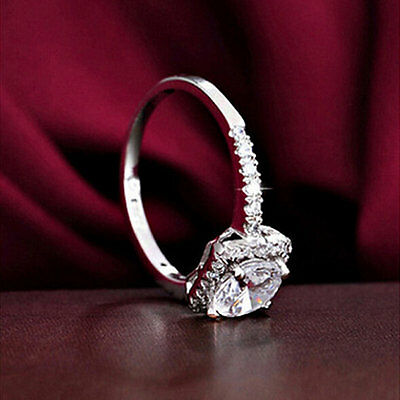 New Womens Exquisite White Sapphire 925 Silver Filled Wedding Ring Jewelry CZ