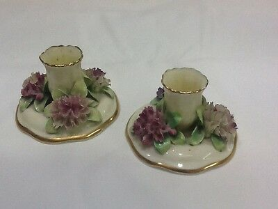 Vintage fine bone china crown Staffordshire candle holders circa 1890