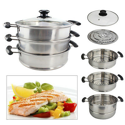 Food Steamer Cooker Pot 3 Tier 28cm Stainless Steel Set Glass Lids Pan Cooking