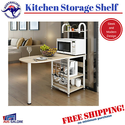 New Kitchen Benchtop Island Modern Storage Space Shelf Bench White Cabinet Bench