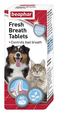 Beaphar Fresh Breath Tablets Pack of 40 For Dogs & Cats FREE P&P