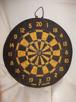 "GREAT Vtg Yellow & Black Cork 2 Sided Dart Board Baseball Made in England 12"" D"