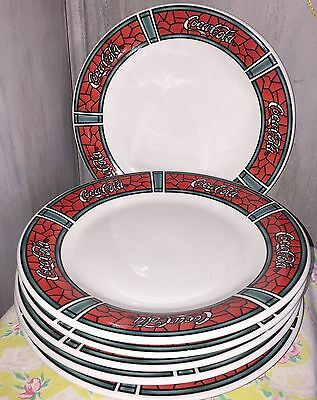 Coca Cola Gibson 1997 Red mosaic stained glass pattern large dinner plates (6)
