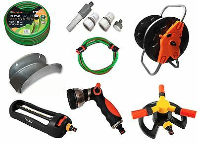 15m Professional Green Garden hose 6 Layers Non Kink with accessories, hose cart