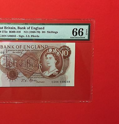 Uk Great Britain -Uncirculated 10 Shillings 1966-70-Gem ,pmg 66 Epq.
