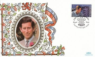 1995 Guernsey Benham Prince of Wales Royal Visit cover with SPMK.