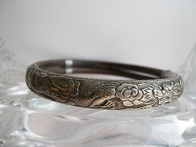 Antique Chinese Bangle Bracelet Dragon Repousse Silver Bamboo