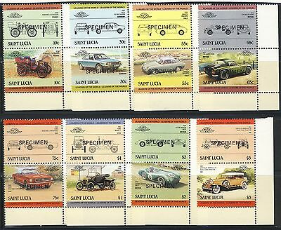 """1985 St.Lucia MNH Specimen set of 8 Pairs (16 stamps) """"Cars"""""""