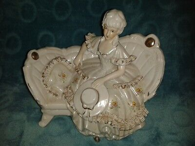 Porcelain Victorian Lady figurine sitting on sofa couch chair - Capodimonte?
