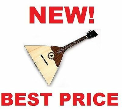 New BALALAIKA, 3 Strings Prima, Natural Wood Folk instrument Ukraine Russia USSR
