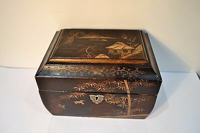 Antique Vintage Japanese Oriental Lacquer Box Tea Caddy