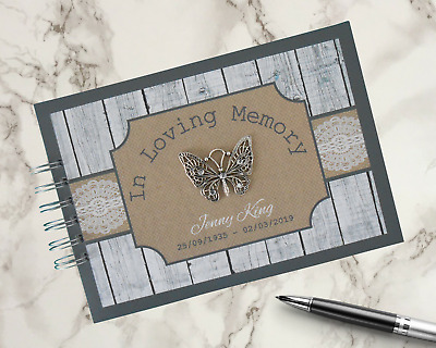 Personalised Funeral Guest Book Condolence Remembrance Black & White Memory Book