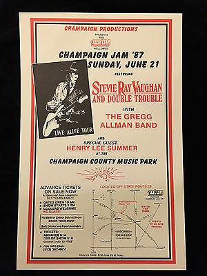 Stevie Ray Vaughan-Concert Poster-Allman Brothers Band-1987-Near Mint To Mint