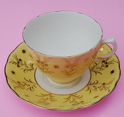 Colclough Yellow with Gold Gilt Poppy Patterned Fine Bone China Teacup & Saucer